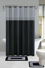 Kadir Black & Silver 15-Piece Bathroom Accessory Set 2 Bath Mats Shower Curtain