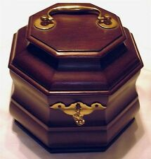 Colonial Williamsburg Octagonal Mahogany 18th Century Tea Caddy Chest NEW Key