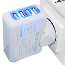 4-fach Stromadapter Netzteil USB Ladegerät für iPhone Samsung Smartphones Tablet