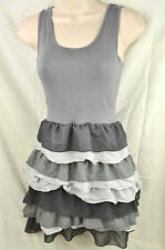 H&M SMALL 8/10 GREY TIERED SKATER DRESS FRILL VEST SCOOP NECK PARTY BODYCON