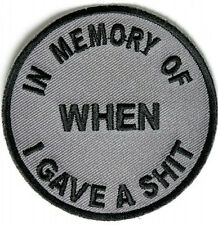 """FUNNY BIKER PATCH """"IN MEMORY OF.."""" MC PATCH EMBROIDERED IRON ON 3 x 3"""" BIKER BAR"""