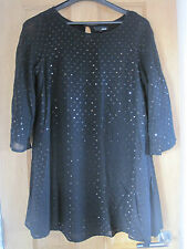 Women's NEXT  black sequinned bat winged goth style lined floaty dress size 10