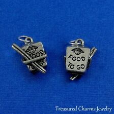 SILVER CHINESE TAKEOUT BOX CHARM Chinese Food PENDANT