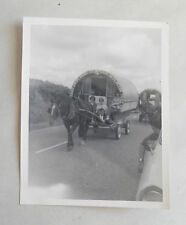 Vintage 1960s B/W Photograph. Romany Horse & Caravan. Teenage Girls. Traffic Jam