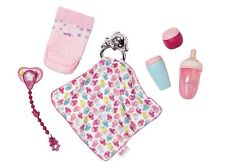 Zapf BABY BORN Dolls Feeding Bottle Nappy Dummy & comfort Blanket Value Set New