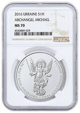 2016 Ukraine Archangel Michael 1 Oz Silver Coin NGC MS70 Ultra RARE
