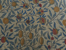 William Morris & Co Curtain Fabric 'Fruit' 1.5 METRES (150cm) Mustard/Blue
