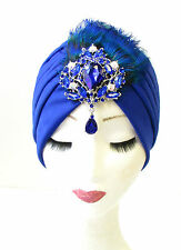 Royal Blue Peacock Silver Feather Turban Headpiece 1920s Cloche Flapper Vtg 1159