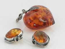 Vintage Jewelry Lot Baltic Amber Heart Pendant and Clip On Earrings Repurpose