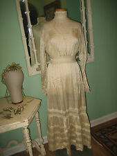 Victorian Edwardian Original Wedding Dress Silk Satin With Wax Flowers Tiara