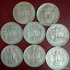 Collection of 8 Large one Rupee dump Coins, 1975 - 82 Diff Dates