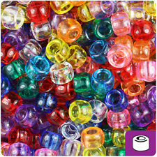 500 Transparent Multi 9x6mm Barrel Pony Beads Made in the USA by The Beadery