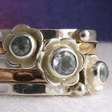 US 6 3/4 ~ 3-Tone STACK of 5 Rings ~ SILVERSARI ~ Sterling Silver & BLUE TOPAZ