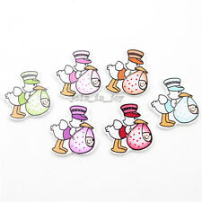 100x Wholesale Colorful Mouth Hold Duck Baby Wooden Sewing Flatback Button JJ