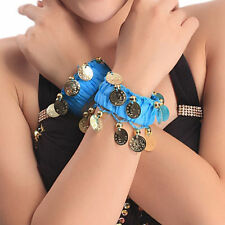 Lady Dance Wristlet Belly Dance Coins Ankle Cuff Wristband Costume Light Blue