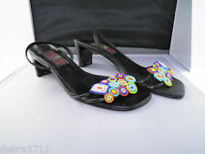 "Carlos Falchi POTPOUR size 9B Black multicolor beaded Floral 2 1/4"" heel shoes"