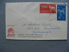 NEW ZEALAND, cover FDC 1957, sheep wool, canc Riverton