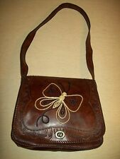 Vintage~Shoulder~Leather~Purse~Hippie~Tooled~Boho~Brown~Butterfly~