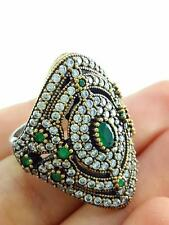Handcrafted Artisan Jewelry 925 Sterling Silver Emerald Ring Size 8 R2266
