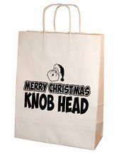 Funny Rude Merry Christmas Knob Head Kraft Paper Gift Bag 25cm x 31cm Medium