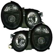 BLACK FACELIFT HEADLIGHTS HEADLAMPS FOR MERCEDES CLK W208 A208 COUPE & CABRIO