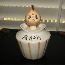 Vintage LEFTON PIXIE RELISH Anthro Condiment Jar w Crying Onion Face & Spoon