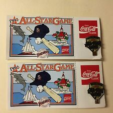 2 All Star Game 1992 Lapel or Hat Pin & Card San Diego Padres Sponsored by Coke