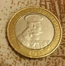 "Rare £2 Two Pound Coin Lord Kitchener Un readable ""Your Country Needs You"" 2014"