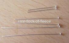 "2 NEW SOLID STERLING SILVER HEAD PINS FOR JEWELLERY MAKING/ REPAIRS 1"" LONG 925"
