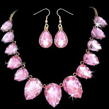 HUGE BLING Pear PINK ICE Cz Crystal Tennis Statement Necklace Dangle Earring Set
