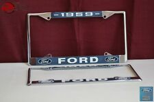 1959 Ford Car Pick Up Truck Front Rear License Plate Holder Chrome Frames New