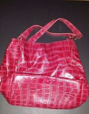 Sag Harbor Red Croc Embossed Faux Patent Leather Shoulder Bag