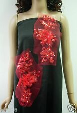 VF127-2 Mirror Layered 3D Floral Sequined Tulle Applique Red Sewing/Trimming