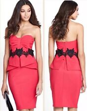 LIPSY BNWT Red /Pink Black Lace Applique Dress Size 10 Cocktail Party £65+Straps