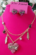 BETSEY JOHNSON LOVE CHARM MULTI STRAND CHAIN NECKLACE + EARRINGS SET NWT $100