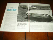 1961 FORD THUNDERBIRD ***ORIGINAL VINTAGE ARTICLE*** T-BIRD