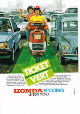 PUBLICITE ADVERTISING 054  1984  HONDA  scooters TICKET VERT