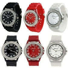 3Pcs Womens Stylish Geneva Dress Wristwatch Crystal Dial Silicone Band Watch Set