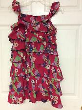Gap Kids girls dress size 14 16 XXL floral pink multi tiered new Y6