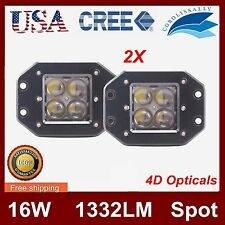 2X 5'' 16W Square Flush Mount Spot LED Work Light Bumper OffRoad 4D Len 24W Cree
