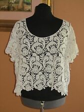 Torrid Embroidered Lace Cropped Top Womens Size 2 2X 18 20 Ivory Unlined Cotton