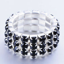 Cool Jewelry Womens Silver Plated 3-Row Black CZ Stretch Finger Ring Adjustable