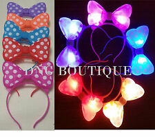 **SPECIAL** 12 PCS LIGHT UP POLKA BOWS HEADBANDS MINNIE MOUSE EARS MICKEY FAVORS