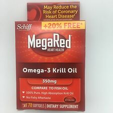 SCHIFF MEGARED 350mg Omega-3 Krill Oil 78 Softgels Mega Red Heart Health