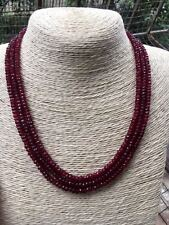 GENUINE TOP NATURAL 3 Rows 2X4mm FACETED RED RUBY BEADS NECKLACE