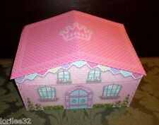 PINK PRINCESS CASTLE HOUSE CHIPBOARD DOLL CLOTHES ACCESSORIES LARGE STORAGE BOX