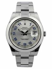 Rolex Datejust II 41 Rhodium Dial Blue Arab Markers Smooth Oyster Watch 116300