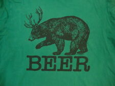 """Local Celebrity """"Beer"""" Bear and Deer Combo Funny Humor Soft Green T Shirt M"""