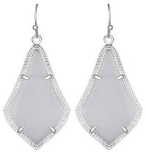 Kendra Scott Alex Earrings in Slate Glass Cats Eye & Rhodium Plated Silver