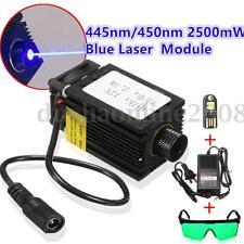 2500mW 445nm/450nm Bleu Laser Module + Lunettes Goggle Pr CNC Gravure Machine